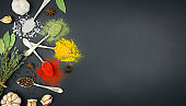 Various spices and herbs in spoons on a dark table. Spices for food. Food background. Banner. Copy space.