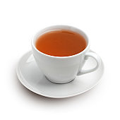 White cup of tea with saucer isolated on a white with shadow.