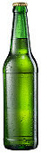 Green beer bottle with drops isolated on white background. Clipping path.