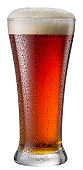 Beer glass isolated on a white background. Contains clipping path. Red beer.