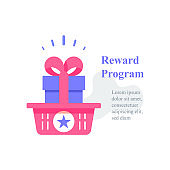 Gift box in basket, reward program, loyalty present, incentive concept, earn points, redeem gift
