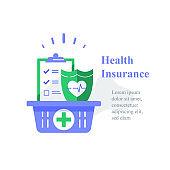 Health insurance, medical program, checklist clipboard and shield, annual checkup