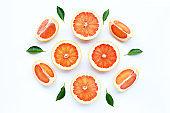 High vitamin C. Juicy grapefruit on white.