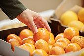 Touching tangerine in box