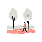 Young man walks alone with dog at park Flat vector illustration on white background Person wears medical mask to protect health and safety