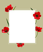 Red flowers. Floral background. Tulips. Border. Green. Leaves.
