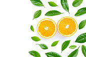 High vitamin C, Juicy and sweet. Fresh orange fruit with leaves on white