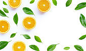 High vitamin C, Juicy and sweet. Frame made of fresh orange fruit with leaves on white