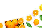 High vitamin C, Juicy and sweet. Fresh orange fruit on white.