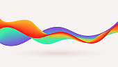 dynamic colorful fluid wave flowing background design illustration