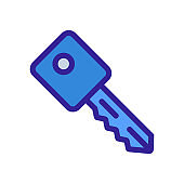 key icon vector. Isolated contour symbol illustration