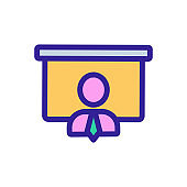 Speaker presentation icon vector. Isolated contour symbol illustration
