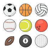 Sports balls vector set. Basketball, soccer, tennis, football, baseball, bowling, golf, volleyball. Vector illustration.