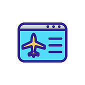 Plane icon vector airfares. Isolated contour symbol illustration