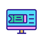 Plane ticket monitor icon vector. Isolated contour symbol illustration