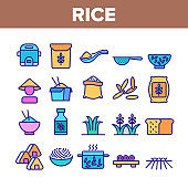 Rice Chinese Culture Collection Icons Set Vector