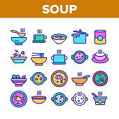 Soup Different Recipe Collection Icons Set Vector