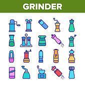 Grinder Pepper Salt Collection Icons Set Vector