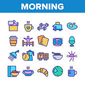 Morning Food And Tools Collection Icons Set Vector