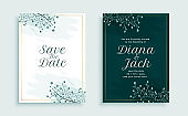 nature style wedding invitation template design with leaves decoration design illustration
