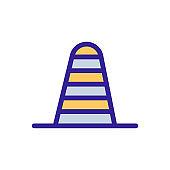 Cone road icon vector. Isolated contour symbol illustration