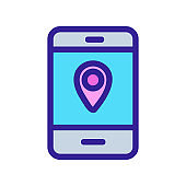 Taxi location icon vector. Isolated contour symbol illustration