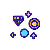 Excavation of the jewels icon vector. Isolated contour symbol illustration