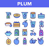 Plum Vitamin Fruit Collection Icons Set Vector