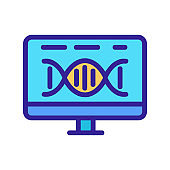 dna monitor icon vector. Isolated contour symbol illustration