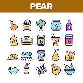Pear Vitamin Fruit Collection Icons Set Vector