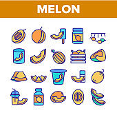 Melon Organic Fruit Collection Icons Set Vector