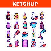 Ketchup Tomato Sauce Collection Icons Set Vector