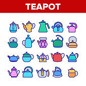 Teapot Kitchen Utensil Collection Icons Set Vector