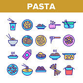 Pasta Dish Gastronomy Collection Icons Set Vector