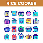 Rice Cooker Equipment Collection Icons Set Vector