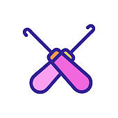 knitting icon vector. Isolated contour symbol illustration