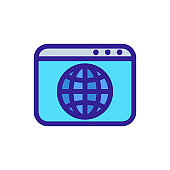 Browser internet icon vector. Isolated contour symbol illustration