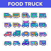 Food Truck Transport Collection Icons Set Vector