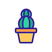 Cactus icon vector. Isolated contour symbol illustration