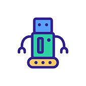Robot icon vector. Isolated contour symbol illustration