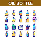 Oil Bottle Package Collection Icons Set Vector