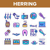 Herring Marine Fish Collection Icons Set Vector