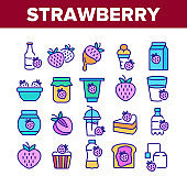 Strawberry Tasty Fruit Collection Icons Set Vector