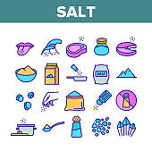Salt Flavoring Cooking Collection Icons Set Vector