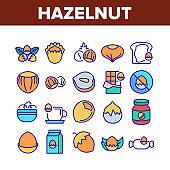 Hazelnut Organic Food Collection Icons Set Vector