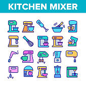 Kitchen Mixer Device Collection Icons Set Vector