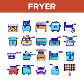 Fryer Electronic Tool Collection Icons Set Vector