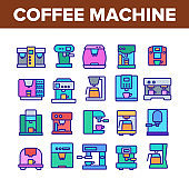 Coffee Machine Device Collection Icons Set Vector
