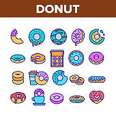 Donut Sweet Breakfast Collection Icons Set Vector