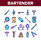 Bartender Equipment Collection Icons Set Vector